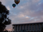 Hot air balloons over the National Library
