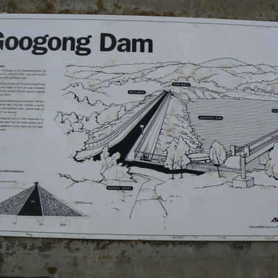Googong Dam information sign at wallside carpark