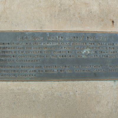 A plaque commemorating the start of construction of Googong Dam in 1975