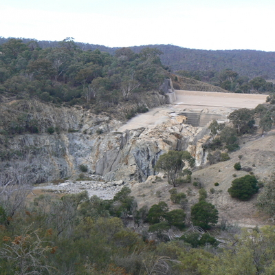 The old eroded spillway