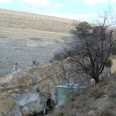 The right side of the dam wall as seen from the base of the