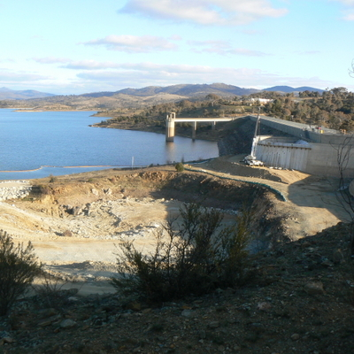 Shot of the dam side of the spillway construction