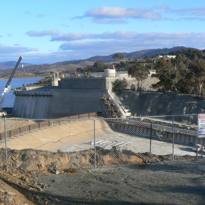 The top of the spillway construction