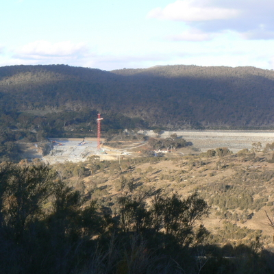 Spillway construction and the Dam wall, as seen from the Googong Dam Water Treatment Plant hill summit