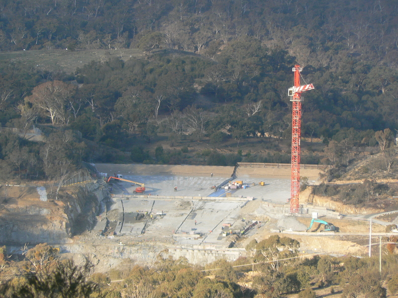 Closer view of the spillway construction, as seen from the Googong Dam Water Treatment Plant hill summit
