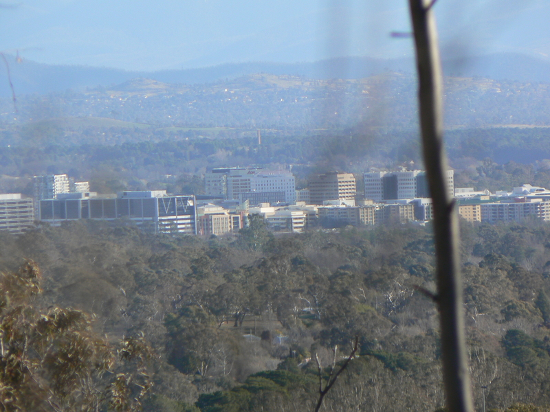 Civic can be seen clearly from Mount Majura
