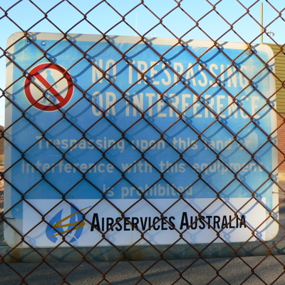 Sign on the fence of the Mount Majura Radar Complex.