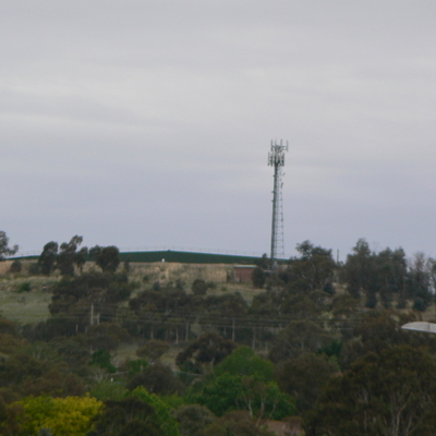 A closer, but more fuzzy view of Oakey Hill from the same location.