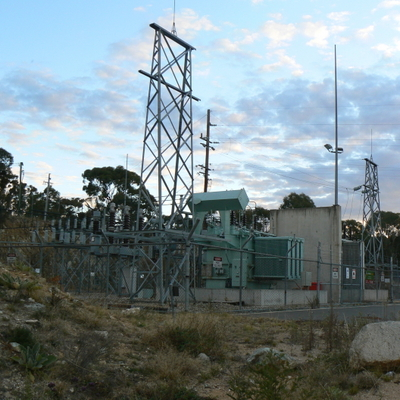 The Googong Dam substation. It's amusing that the dam is run by ACT water/electricity/gas utility ActewAGL, and yet the substation is run by Country Energy.