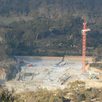 the spillway construction, as seen from the Googong Dam Water Treatment Plant hill summit