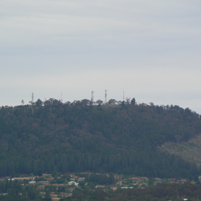Transmission towers in the distance on Isaacs Ridge