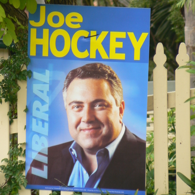 Vote 1 Joe Hockey sign on a house in Greenwich
